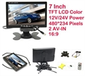 """Picture of Car 7"""" LCD Monitor 12V/24V 2 Video Input"""